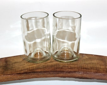 Recycled Wine Bottle Drinking Glasses - Clear Bottles - Set of 2