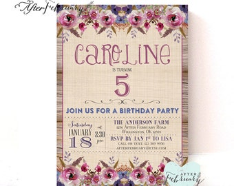 Girl Birthday Invitation // Birthday Party Invitation // Any Ages // Watercolor Maroon Floral // Printable No.922KIDS