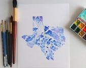 Texas State Watercolor Floral Art Print- State Flower- Bluebonnets- 8x10