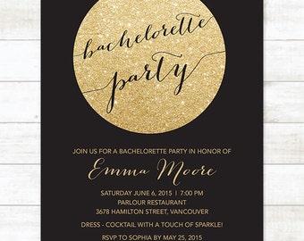 gold glitter black bachelorette party invitation, black gold glitter printable modern stagette party digital invite customizable