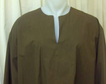 Men's Pirate, Peasant, Fantasy Olive Brushed Cotton Shirt, Size XL