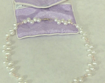 Freshwater Pearl & Austrian Crystal Necklace, Choker with Silkie Storage Pouch