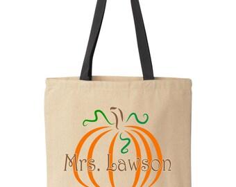 Personalized Halloween treat bag.  Pumpkin teacher gift tote. Trick-or-treat bag.  Halloween bag.  Halloween bucket by Pink Pig Printing.