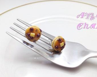 Blueberry Pancake Studs, Pancake Jewelry, Miniature Food Jewelry, Polymer Clay Food, Food earrings