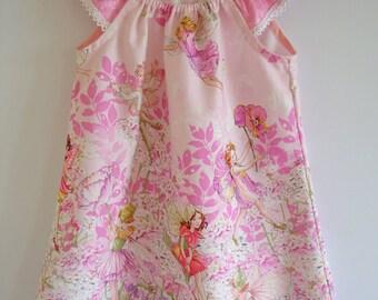 Girls dress, Pink Fairies, Michael Miller, Girls clothing, peasant dress, fairies dress,100% cotton,girl, baby, toddler, size 3m to 10 years