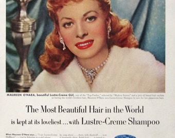 1952 Lustre-Creme Shampoo Ad - Maureen O'Hara - Red Haired Woman - 1950s Hollywood Actress - Retro Beauty Ad