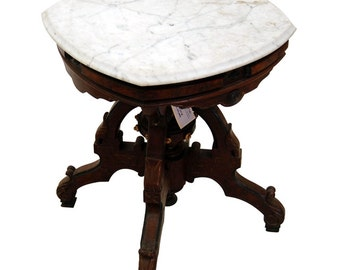 6355 Antique 19th C. Victorian Marble Top Side Table