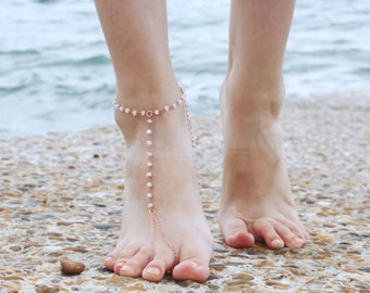Moonstone Barefoot Sandal - Bohemian Foot Jewellery - Bride Feet Jewellery - Beach Shoes - Slave Anklet - Nude Shoes - Moonstone Chain