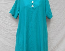 Vintage emerald green baby doll dress by Silhouettes // 1980s 80s valley girl swing dress mod short secretary dress 1X / 2X (26W)
