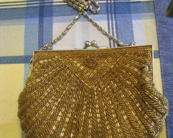 Fully beaded gold purse with chain