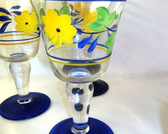 ON SALE WAS 21.00..Hand Painted Wine Glasses Set of 2