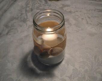 Beach themed wedding jar candle decor
