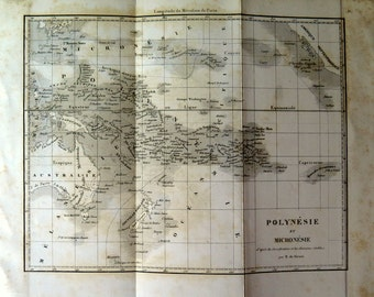 Antique POLYNESIA and MICRONESIA MAP steel engraving, 1868 antique fine white and black print of oceania, australia plate illustration.