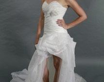 Sexy Sweetheart, Split wedding dress, bridal gown high low ruffle organza beach style