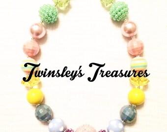 Pastel Chunky Beaded Bubblegum Necklace (yellow, blue, pink, green, purple)