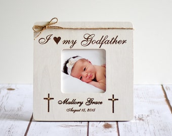 Baptism Frame -Godparents Gift- Godparents Frame- Gift for Godparents, Christening, I love my Godfather, Godmother Frame, Godfather Frame