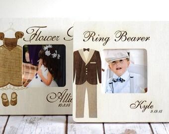Ring bearer and Flower girl Frames, Ring Bearer and Flower girl Gifts, Wedding Party gifts, Rustic wedding, Thank You Gift, Set of 2