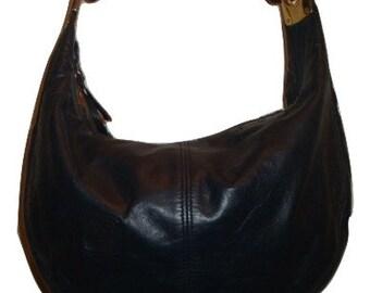 vintage ANNE KLEIN for CALDERON Navy Blue leather hobo shoulder bAG Purse handbag india