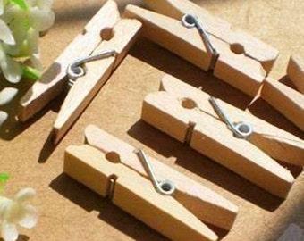Mini Wooden Clothespins (50 pcs) Korean Stationery Clothespin Photo Clips E0177