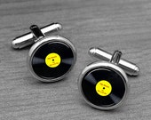 Vinyl Cufflinks, Music Record, Musician's Cufflinks, Birthday gifts, Hip Hop, Dancing .Personalized Round Glass Cuff links,Rock N Roll