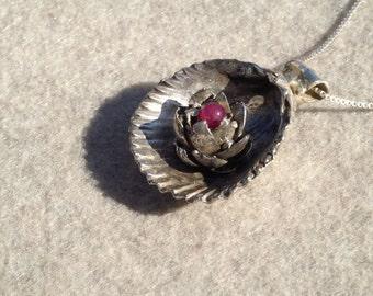 Silver Shell Pendant, Sterling Silver, Shell Flower Pendant, Sea Jewelry, Nature Pendant, Ocean Pendant, Silver Shell, Seashell Jewelry