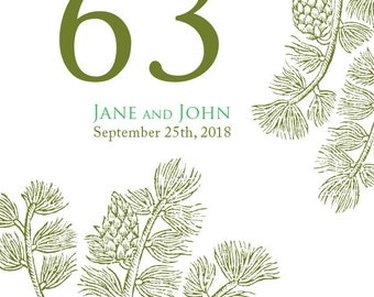 Wedding Table Numbers - Woodland Wedding - Table Numbers - Wedding Supplies - Evergreen Table Numbers - Forest Wedding - Woodland Wedding