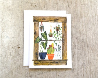 Houseplants in the Window Greeting Card