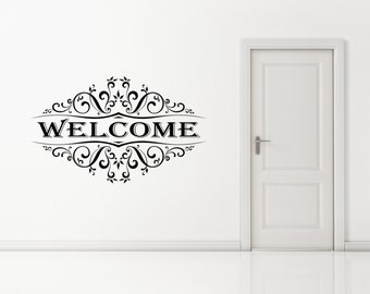 Vintage Welcome Wall Art Decal Sticker. Any color or size.(#50)