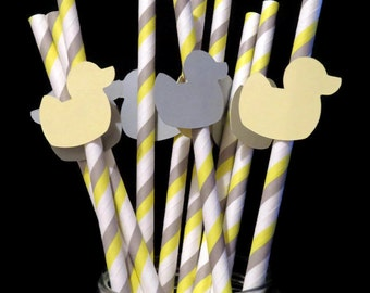 rubber duck straws, gray and yellow baby shower decorations, gender reveal, custom colors available, baby ducks, duckies, ducklings, 10 pack