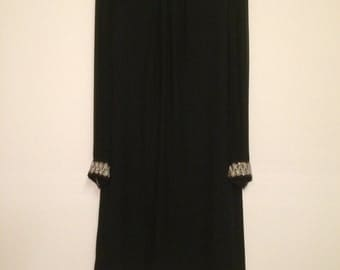 Vintage Aldens Fashion Black Long Sleeve Shift Dress with Beaded/Sequined Details