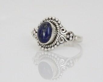 Lapis Lazuli Ring Oval,Lapis Ring, Silver ring,  US 6,  lapis stone ring