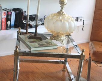 Mid Century Chrome/ detailed Brass Accent Square End Table by Maison Jansen - Side Table-Hollywood Regency - Mid Century- Accent Table