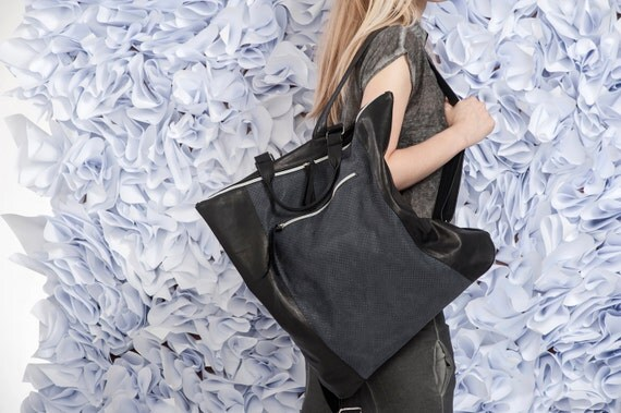 Black Leather Backpack / Leather Like Tote Bag / Oversize Purse / Unisex Laptop Bag / School Bag / Handbag / Shoulder Bag - Armadil