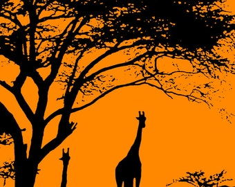 Giraffe Silhouettes Poster, Giraffes, Orange Sunset, Africa