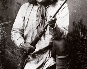 Geronimo with his Rifle Poster, Native American Indian, Apache Leader & Warrior