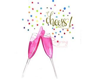 Cheers wall art, Inspirational art, Fashion art , Fashion  print , Watercolor art , Wall art, Gift for her, Nursery wall art