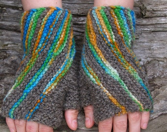 Multicolor knit wrist warmers. Fingerless wool gloves. Unique accessories for women