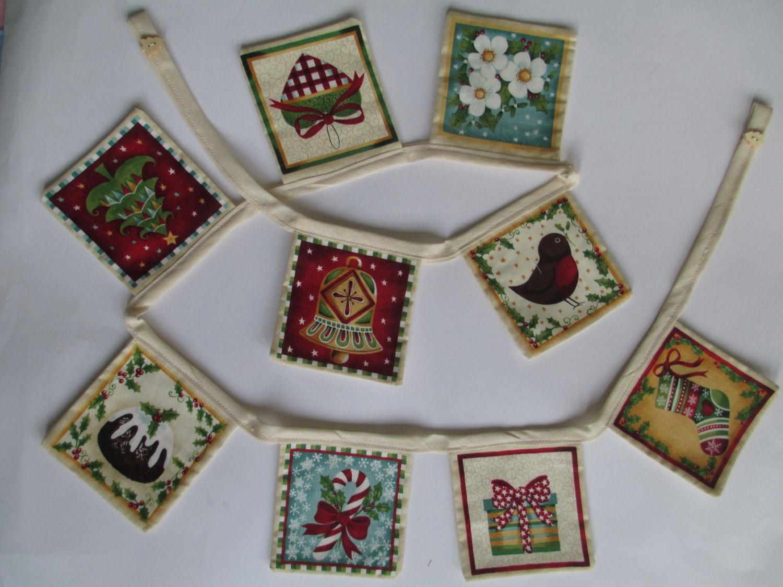 Handmade Fabric Christmas Bunting 9 Flag Bunting Traditional