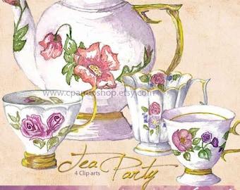 Watercolor Tea Clip Art Set, Tea Clipart, Sweet Tea, Tea Bag Clip Art, Pitcher Glass Tea, Southern Sweet Tea, Hipster Clip Art Illustration