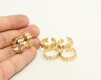 5 Pcs Raw Brass Flower Rings, 16-17mm Adjustable Ring, Brass Adjustable Ring , LA39
