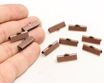 50 Pcs Antique Copper Ribbon Crimp Ends (19mm) Fasteners Clasp, Ribbon Crimps , Bronze Ribbon Clasp , CLS13