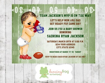 Football Sports Baby Shower Invitations - Printed Football Baby Shower Invitation by Dancing Frog Invitations