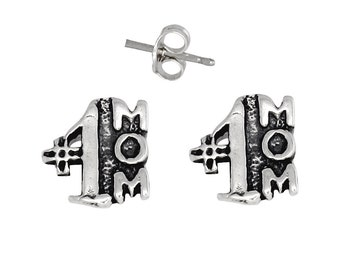 Sterling Silver .925 Number One Mom Pin Earring | Made in USA