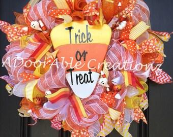 Candy Corn Deco Mesh Wreath,  Candy Corn Wreath, Fall Wreath, Halloween Wreath, Yellow White Orange Wreath