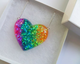 Heart Shaped Rainbow Glitter Resin Pendant Statement Necklace Cute Kawaii Quirky Colourful Candy Kitsch Unicorn Rave