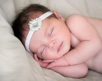 White Rhinestone Baby Newborn Headband  ~ White Sparkle Baby Newborn Photo Prop ~ Vintage Baby Headband