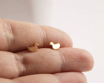 Copper Duck Studs // Handmade Duck Earrings // Very Cute Small Duckies // Sterling Silver Posts