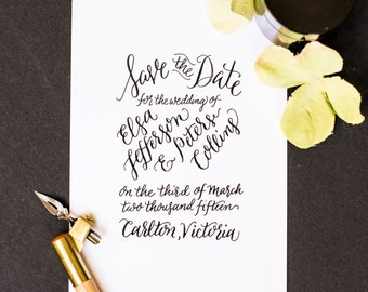 Save The Date Custom Calligraphy Rubber Stamp