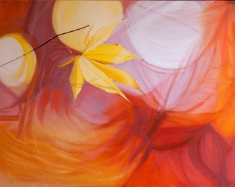 Original Oil painting Modern Art Leaf Autumn
