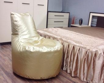 Bean bag gold, bag-chair Aviator, Bean bag chairs - genuine Leather Bean Bag Chair